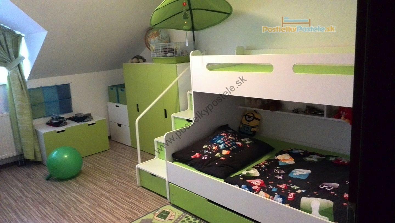 0cbd765d6b417 MAX 3 - Poschodová posteľ (rozšírená) s prístelkou - 200x120cm - Biely -  Zelený
