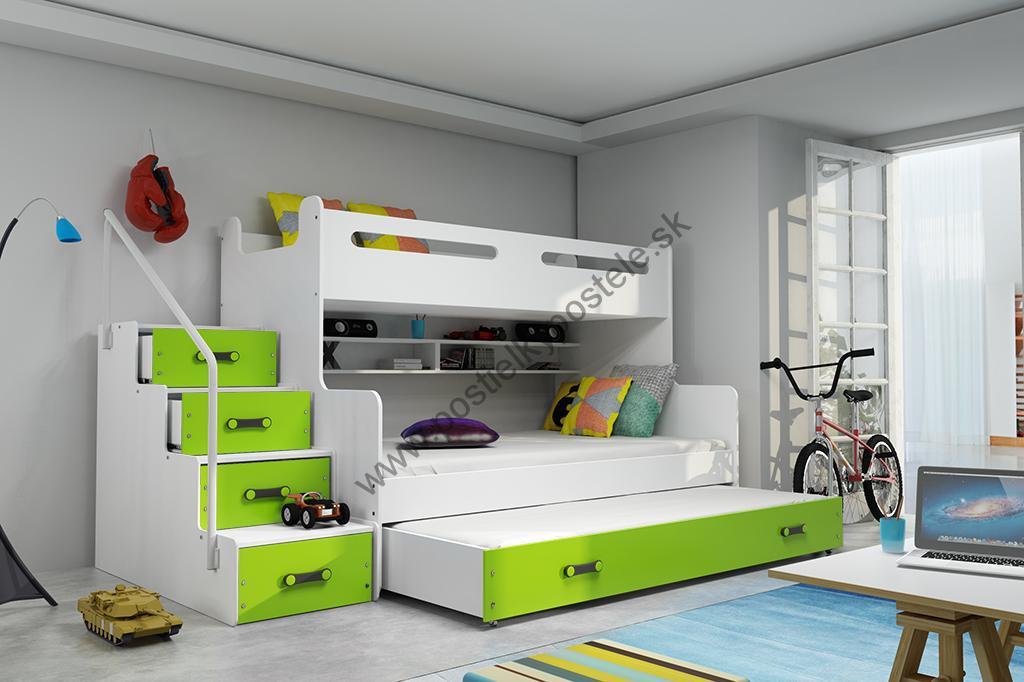 MAX 3 - Poschodová posteľ (rozšírená) s prístelkou - 200x120cm - Biely -  Zelený 119e4b02770