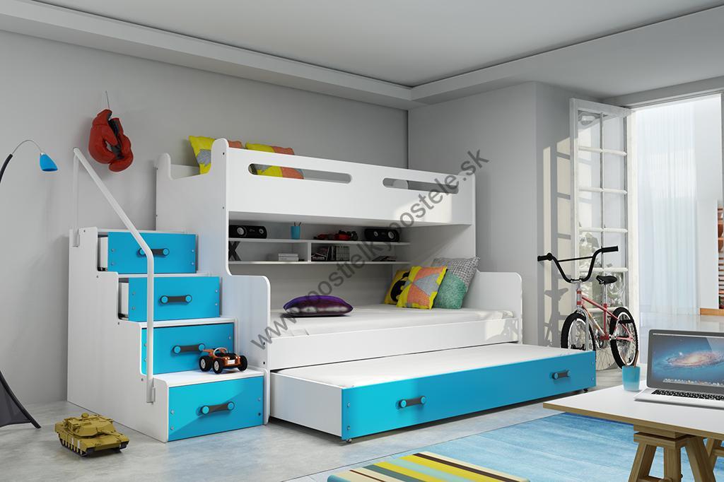 e619413bdacff MAX 3 - Poschodová posteľ (rozšírená) s prístelkou - 200x120cm - Biely -  Modrý