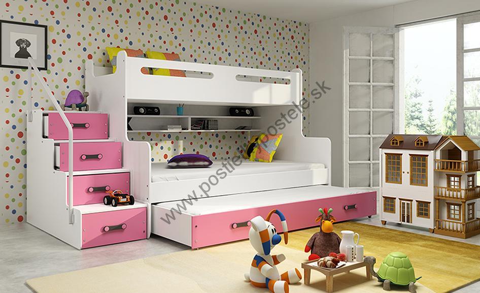 MAX 3 - Poschodová posteľ (rozšírená) s prístelkou - 200x120cm - Biely -  Ružový 87d52e8fb4b