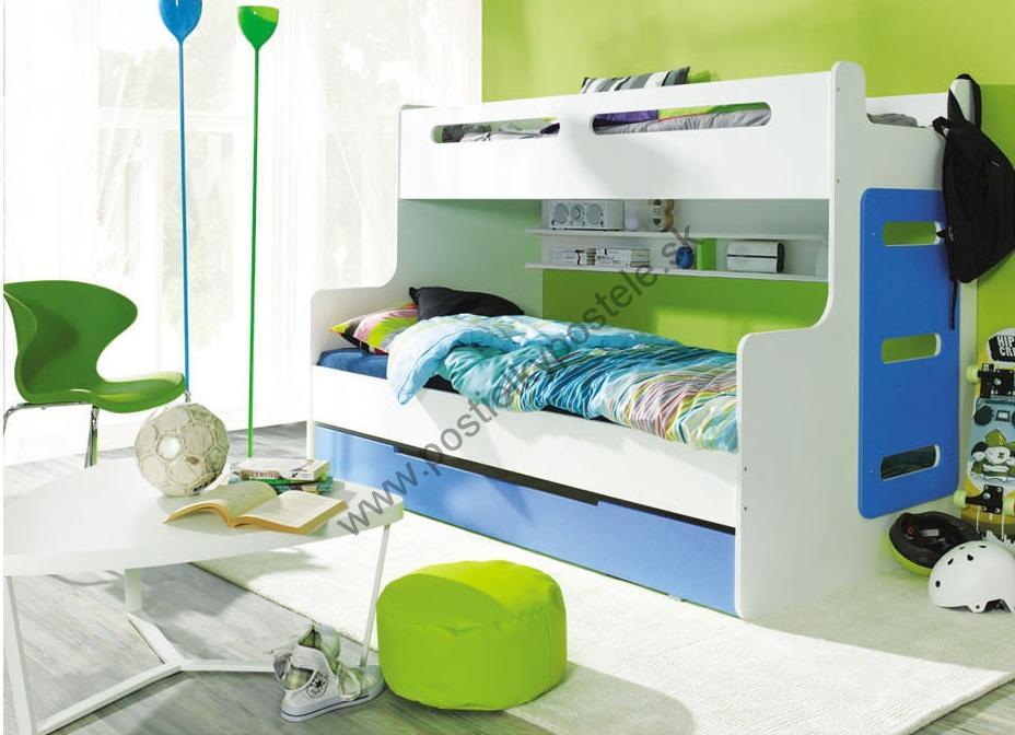 Poschodová posteľ - rozšírená MAX 3 - modro biela  1045bce3a6c