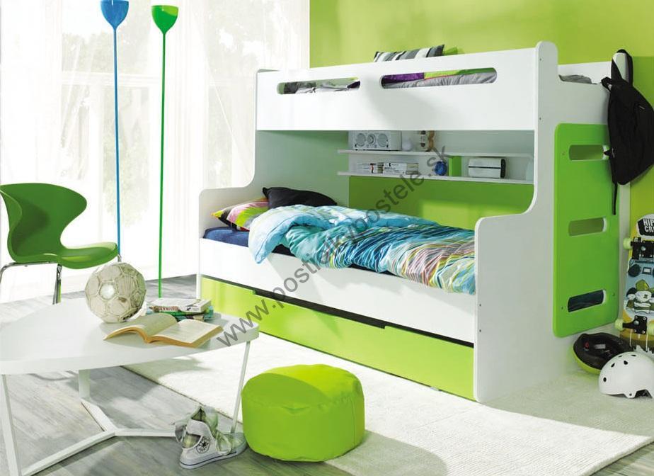 6c425a87df19a Poschodová posteľ - rozšírená MAX 3 - zeleno/biela | Internetový ...