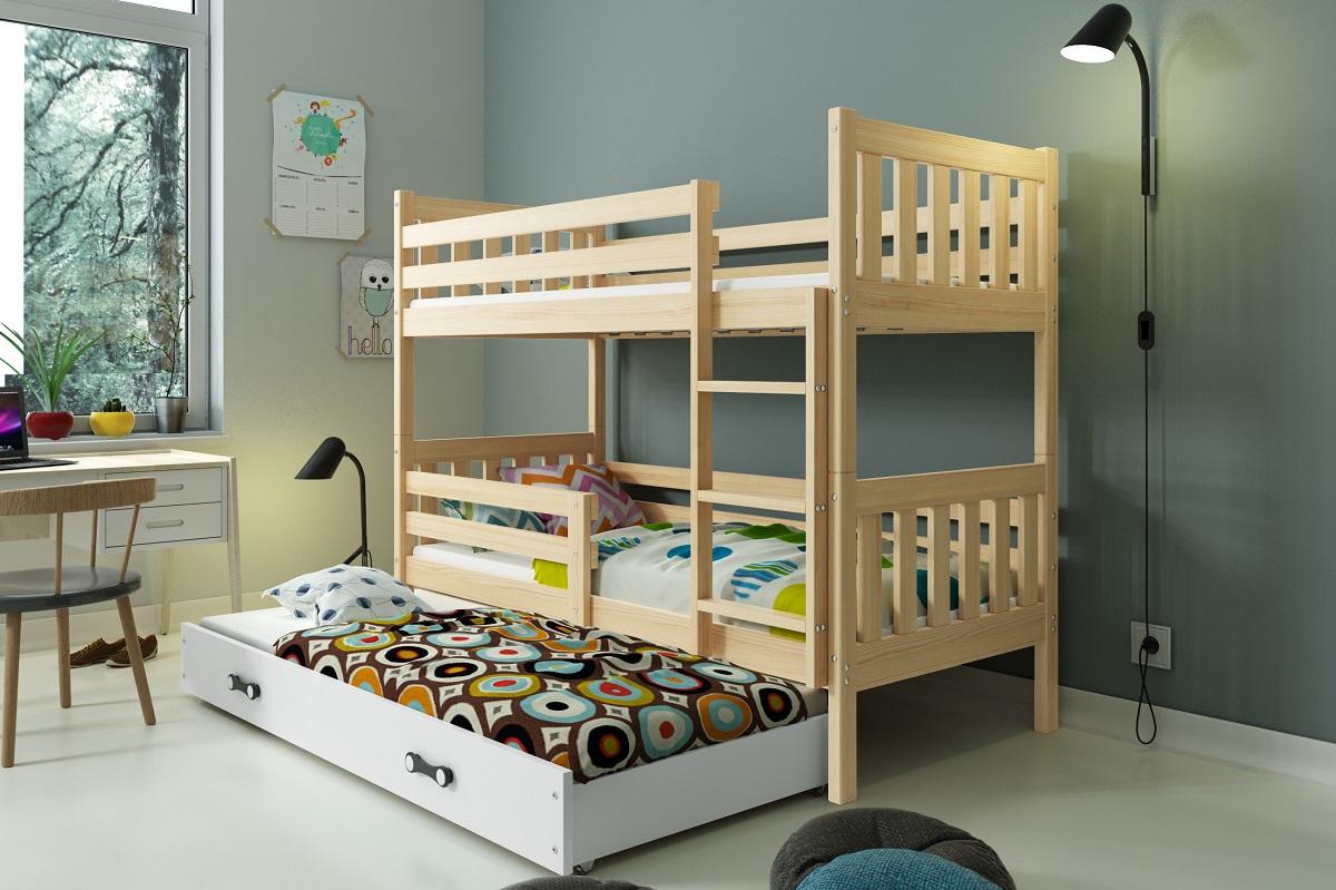 5cf0f1d4b1cd Poschodová posteľ s prístelkou CARINO 3 - 190x80cm - Borovica - Biela