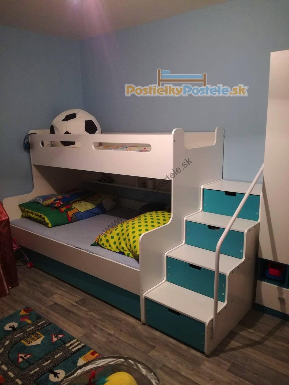 16d0d56d1f266 MAX 3 - Poschodová posteľ rozšírená - 200x120cm - Biely - Modrý ...