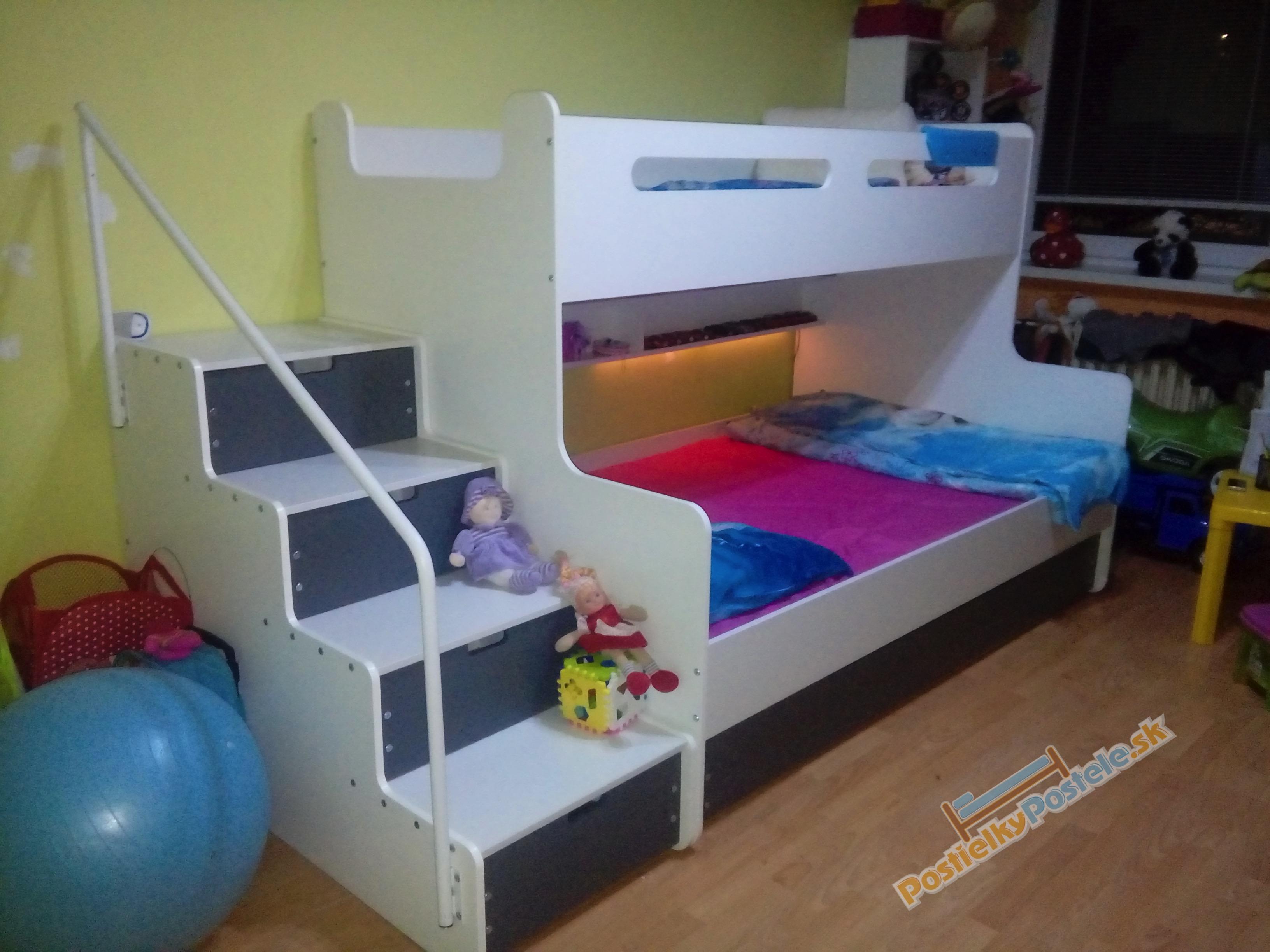 MAX 3 - Poschodová posteľ rozšírená - 200x120cm - Biely - Grafitový ... 9b1baced34d