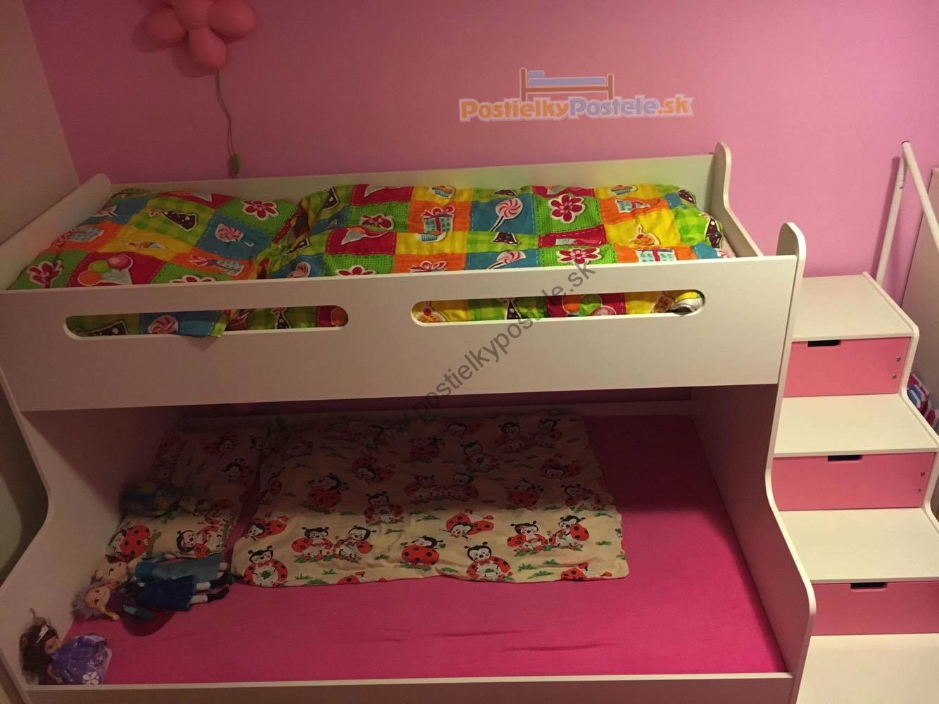 MAX 3 - Poschodová posteľ rozšírená - 200x120cm - Biely - Ružový ... fe56bc03342