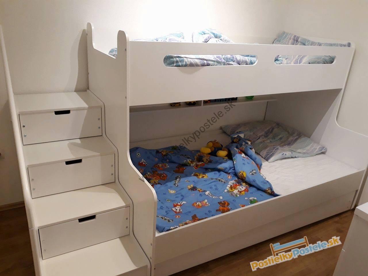 00a5042de86eb MAX 3 - Poschodová posteľ rozšírená - 200x120cm - Biely - Biely ...