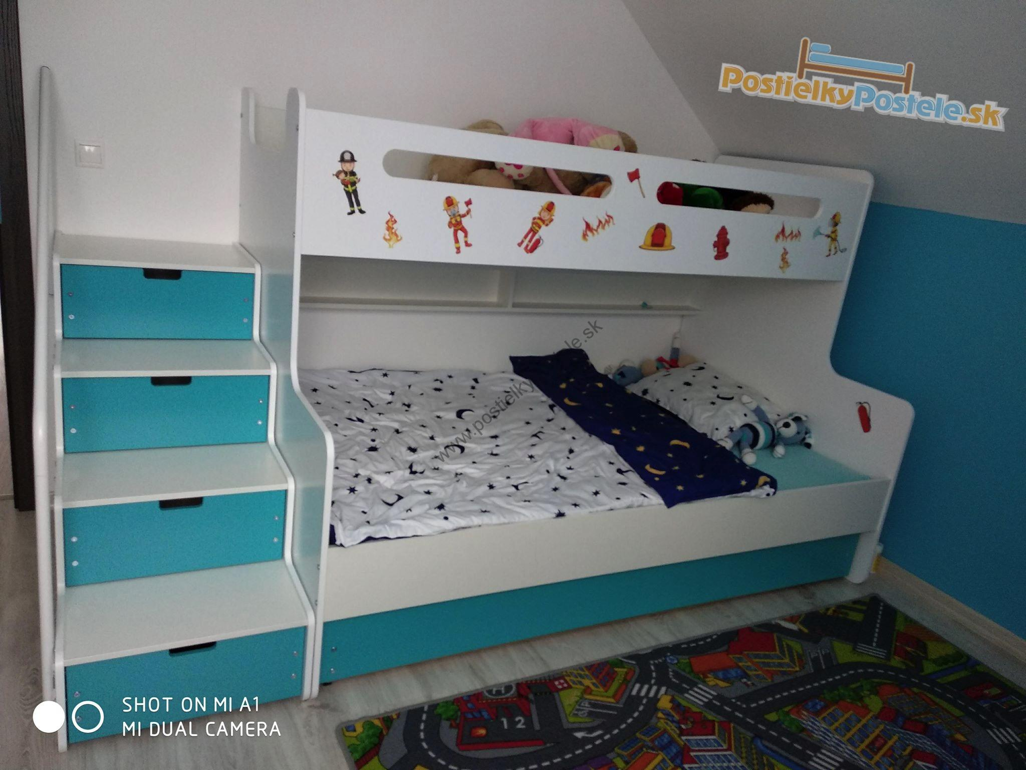MAX 3 - Poschodová posteľ rozšírená - 200x120cm - Biely - Modrý ... 0c98abea1aa