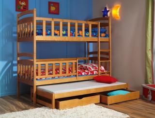 Moderné a lacné detské poschodové postele s prístelkou na predaj.